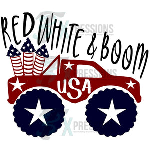 Red White & Boom Truck