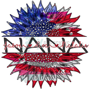 Personalized Patriotic Sunflower