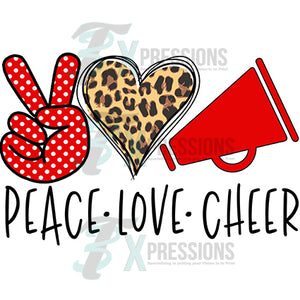 Peace Love Cheer red