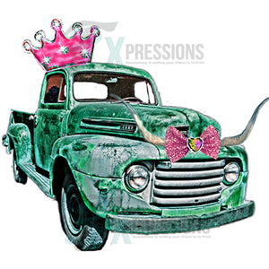 Green Truck with Crown and Horns