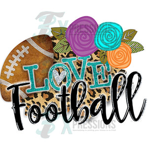 Love Football Leopard and flowers
