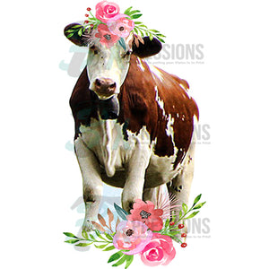 Cow with Pink Flowers