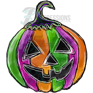 colorful carved pumpkin