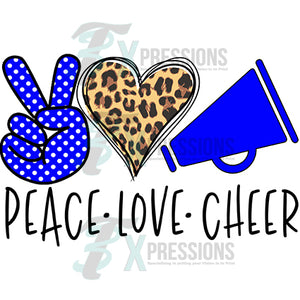 Peace Love Cheer Royal Blue