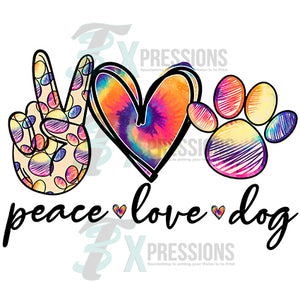 Peace Love Dog tie-dye