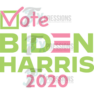 Vote Biden Harris Pink and Green
