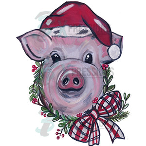 Christmas Pig with Hat and wreath