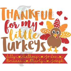 Personalized Thankful for my little Turkeys Single Turkey
