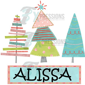 Personalized whimsical Christmas Trees