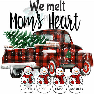 Personalized  melt Heart Snowman Truck