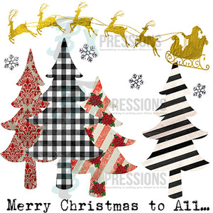 Merry Christmas to All Vintage Patchwork Trees