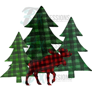 Green Plaid Trees and Moose