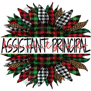 Assistant Principal Love what you do  Plaid Christmas Sunflower