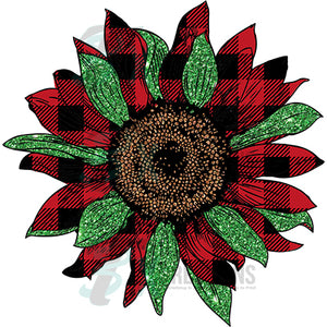 Buffalo Plaid and Green Sunflower