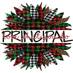 Principal Love what you do  Plaid Christmas Sunflower