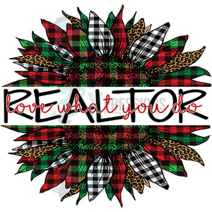 Realtor Love what you do  Plaid Christmas Sunflower