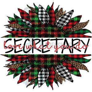 Secretary Love what you do  Plaid Christmas Sunflower