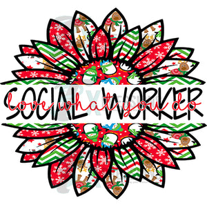 social worker Snowman Christmas Sunflower