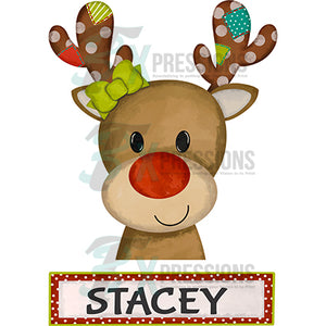 Personalized Girl Patchwork Reindeer