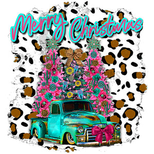 teal truck merry christmas