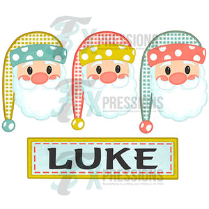 Personalized Pastel Santa Trio