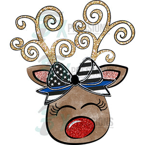 Blue Line Girl Reindeer