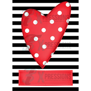 Personalized Black and White Stripe background Red heart