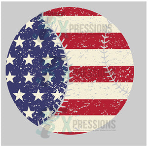 patriotic baseball distressed