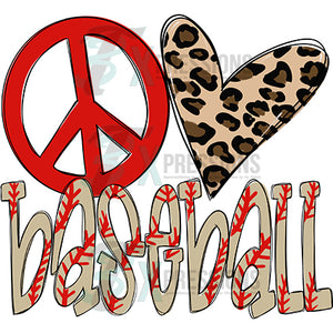 peace love baseball Leopard