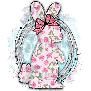 Floral Bunny with Glitter background