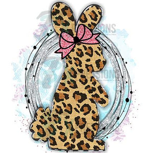 Leopard Bunny Pink Bow