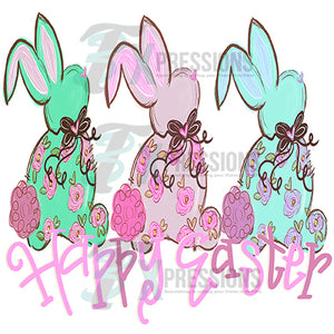 HTV 3 Bunnies Happy Easter