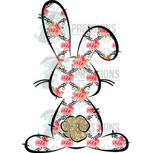 Bunny black outline pink flowers