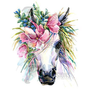Personalized Floral headpiece horse