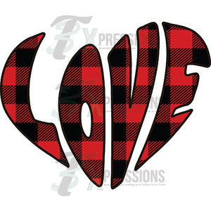 Buffalo Plaid Love heart - 3T Xpressions