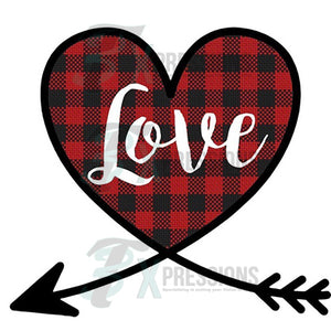 Buffalo Plaid Love Wrapped Heart - 3T Xpressions