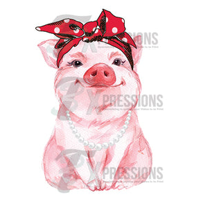 Personalized Piggie Red Bandana And Pearls - 3T Xpressions