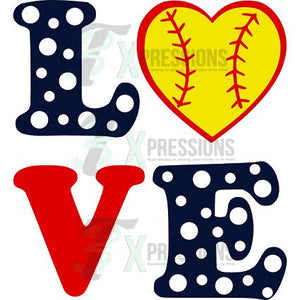Heat Transfer Vinyl Love Softball - 3T Xpressions