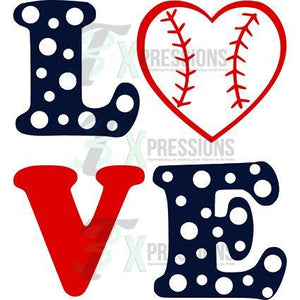 Heat Transfer Vinyl Love Baseball - 3T Xpressions