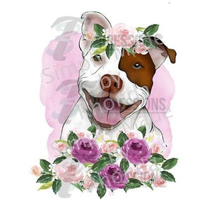 HTV Red Nose Pit Bull With Flowers - 3T Xpressions