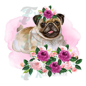 Pug Dog With Flowers - 3T Xpressions