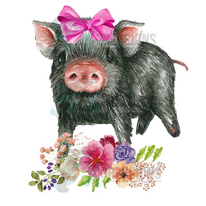 Pig With Pink Bow And Flowers 3t Xpressions