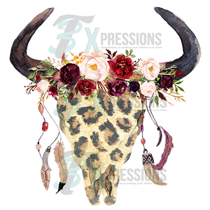 Boho Leopard Skull With Feathers - 3T Xpressions