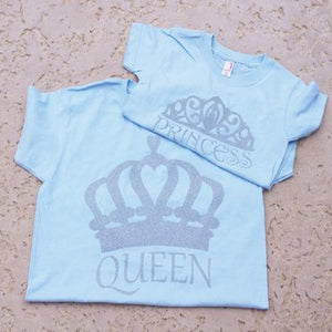 Custom Glitter Queen and Princess Mom and Daughter and shirt set - 3T Xpressions