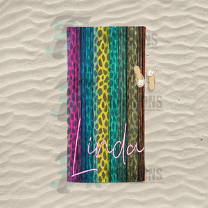 Peronalized Colorful wood leopard beach towel