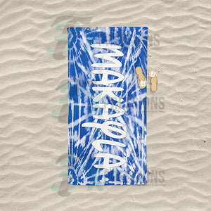 Personalized Blue Spider tie-dye Beach Towel