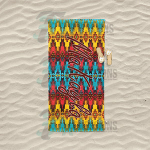 Personalized Bright Aztec Beach Towel