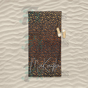 Personalized Brown Leopard Glitter Beach Towel
