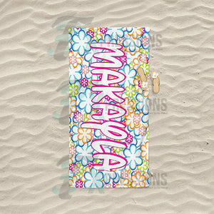 Personalized Flower Power Beach Towel
