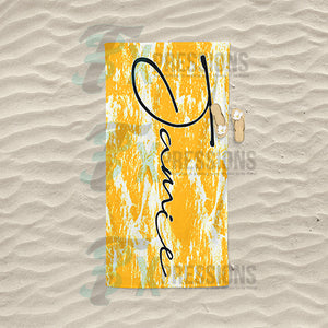 Personalized Gold Bleached Tie-Dye Beach Towel